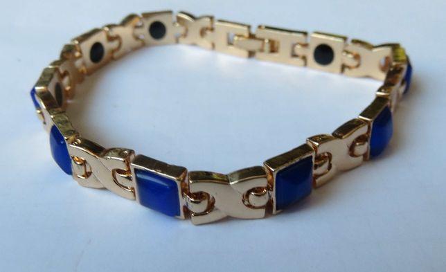 Bransoleta bransoletka magnetyczna niebieskie kamienie