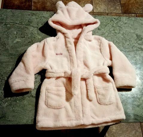 Szlafrok płaszcz kąpielowy z kapturem z uszkami róż. r.12-24 m-ce NOWY