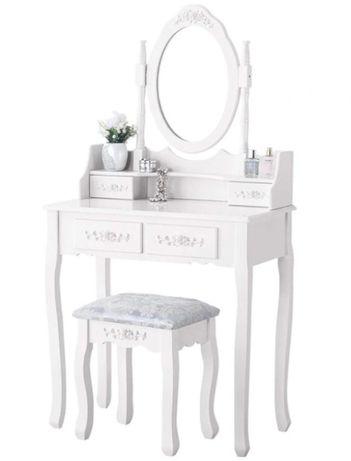 Śliczna toaletka kosmetyczna +taboret, pędzle i gąbka GRATIS