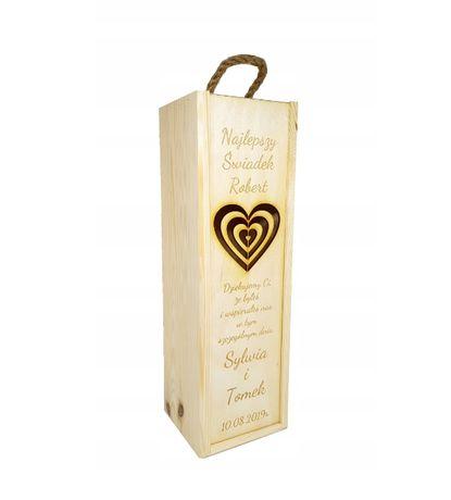 Skrzynka drewniana na wino Podziękowania ślubne Kochanym Rodzicom