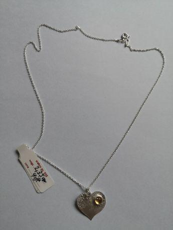 Srebrny naszyjnik wisiorek cytryn serduszko serce kamień naturalny