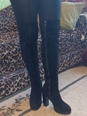 Сапоги женские замшевые на каблуке