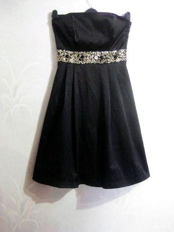 Платье Zara чёрное вечернее выпускное бисер камни стразы M