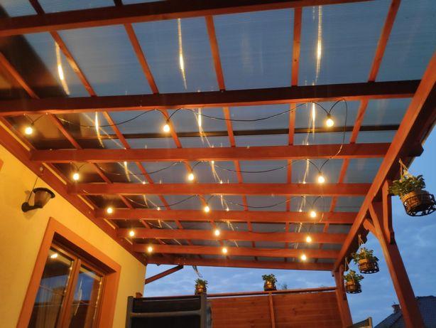 Girlanda ogrodowa LED 20m czarna 15 żarówek E14 do altany werandy