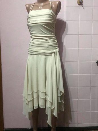 Свадебное нарядное платье Gina Bacconi воздушное бежевое Р.46/48
