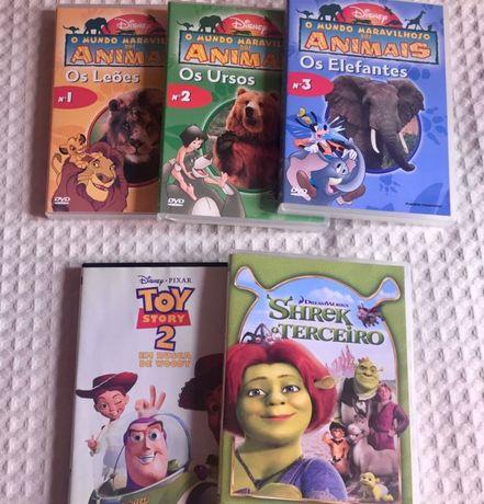 Filmes Toy Story 2 e Shreck 3 e coleção Animais