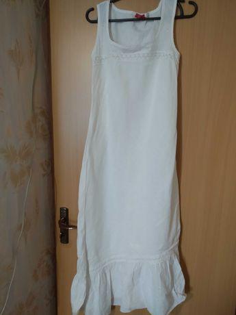 Белое льняное платье-сарафан с воланом Италия