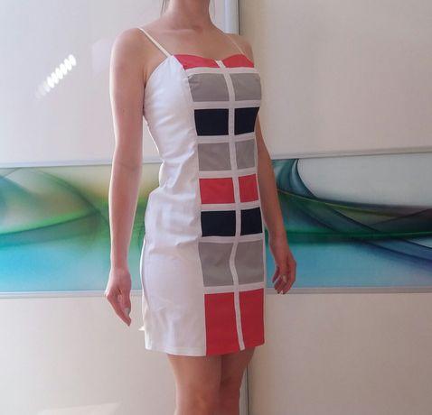 Biała sukienka ze wzorem rozm. 34