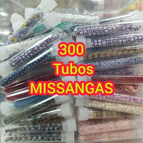 LIQUIDAÇÃO Lote de 300 Tubos de missangas P/ bijuteria e costura
