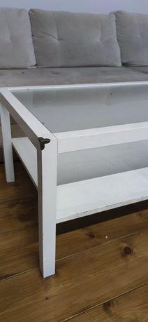 Stolik drewno + szkło matowe