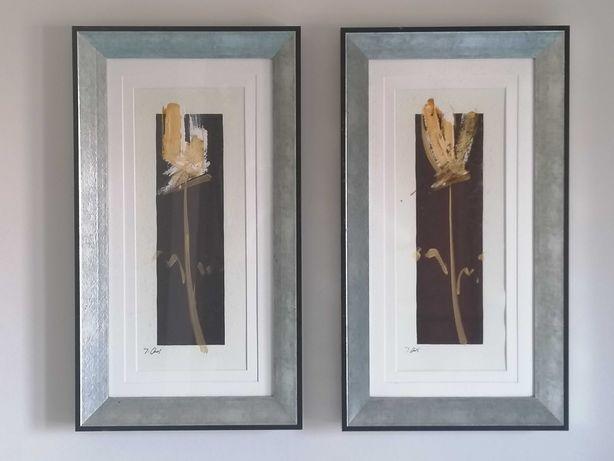 Conjunto 2 quadros com moldura para decoração