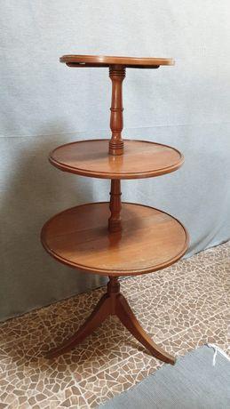 mesa, 3 andares, expositor, prateleiras, dobravel, vintage, rustico