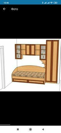 Продаю кровать +шкаф+полка