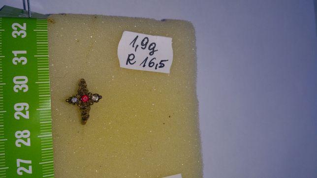 Pierścionek złoty z diamentami i rubinem w cenie 2800 zł