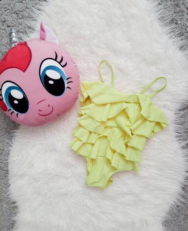 Лимонный купальник с рюшами для девочки детский жёлтый купальник