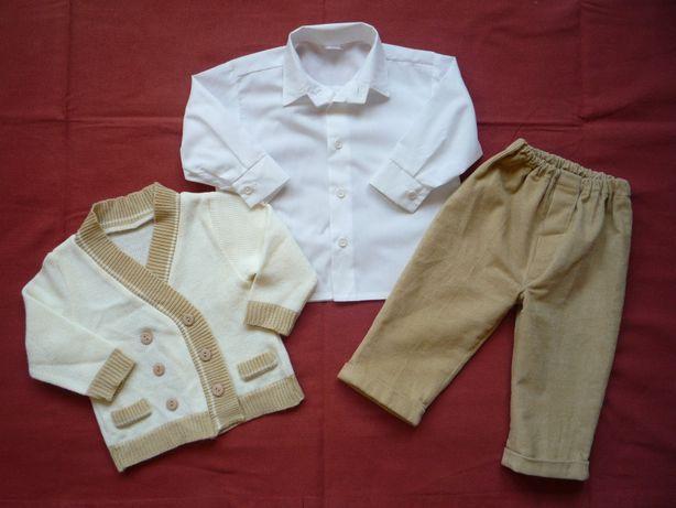 Komplet roz 74 Sweterek Kremowy Spodnie Biała Koszula Jak Nowe