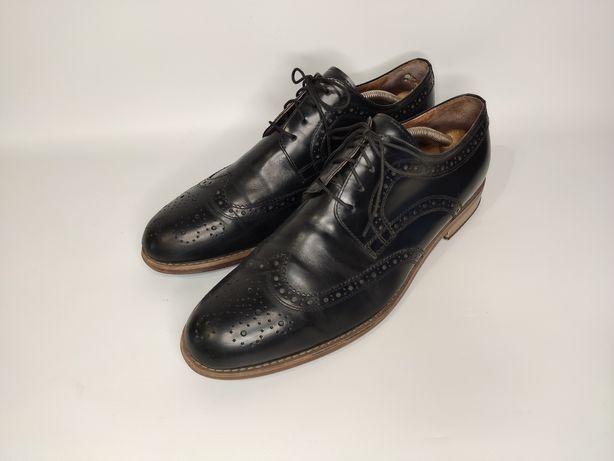 Dune стильные чёрные кожаные туфли броги, 43 размер