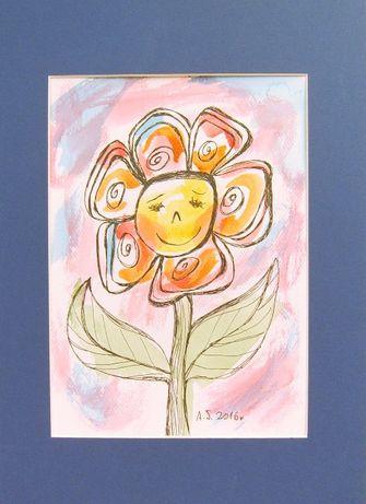 ładny rysunek do pokoju dziewczynki, obrazek dla dzieci, akwarela kwia