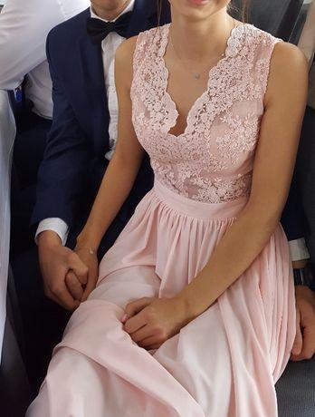 Sukienka długa pudrowy róż na wesele/ ślub/ studniówke XS/34