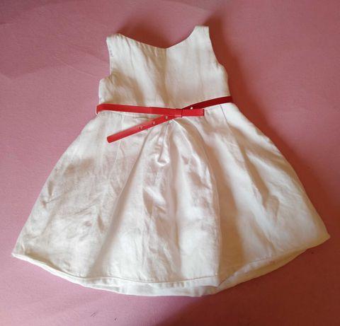 Lniana biała sukienka z czerwonym paskiem Zara kids r.98