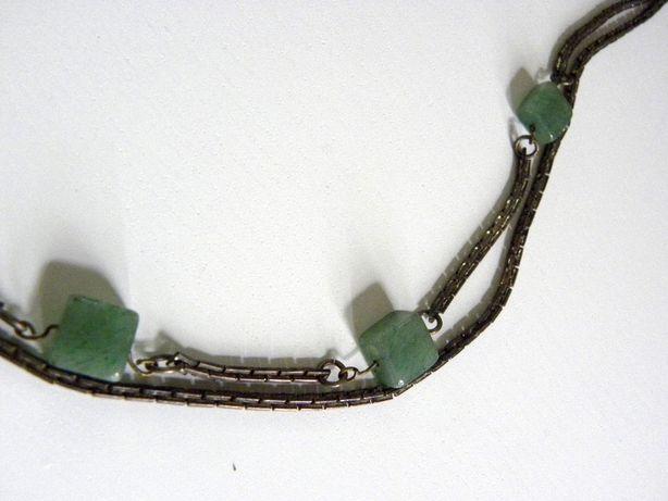 украшение на шею камень натуральный нефрит цепь винтаж Франция