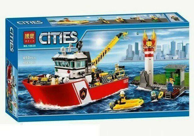 Конструктор детский Bela 10830 Аналог Lego City 60109 Пожарный катер