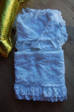 Конверт на выписку, одеялко ажурное белое