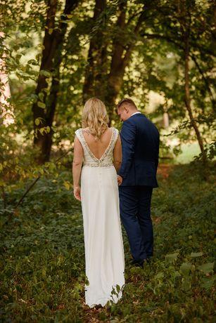 PROSTA ELEGANCKA SKROMNA suknia ślubna Meghan Markle z dodatkami
