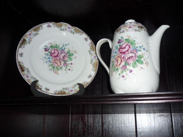 Prato e cafeteira porcelana T Limoges 226 W Germany