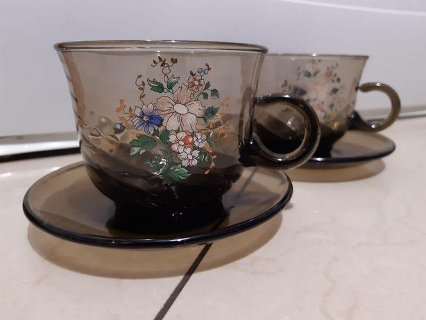 Filiżanki czarne szkło prl serwis kawowy vintage komplet 6 szt