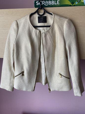 Ecru marynarka Zara, elegancki żakiet Zara, rozmiar S