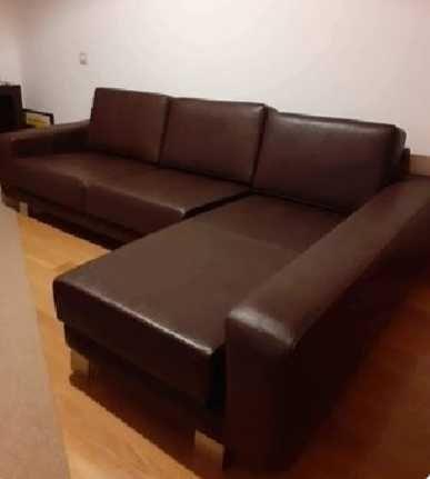 OPORTUNIDADE - Magnifico sofa chaiselongue em pele, como novo