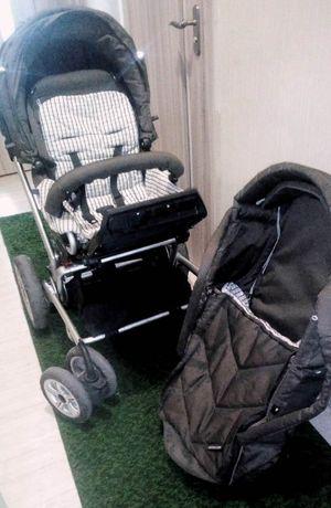 немецкая коляска 3 в 1 фирмы GESSLEIN коричневого цвета