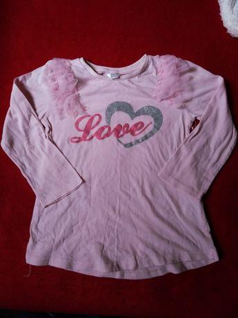 Bluzeczka z długim rękawem brokatowy napis
