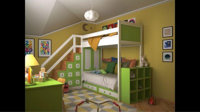 Ліжко дитяче, двох поверхове, меблі  в дитячу