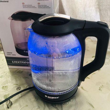Новый электрический чайник стеклянный с подсветкой. Электрочайник 1.8л
