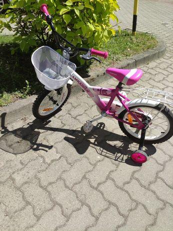 Rowerek dziecięcy 16 cali dla dziewczynki różowy rower z kółkami