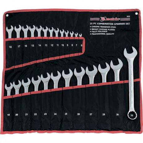Большой набор ключей комбинированных рожково-накид, 6-32 мм, 25 шт, MT