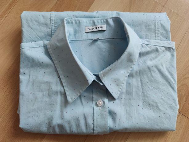 Przepiękna niebieska koszula w kropki wizytowa Wólczanka 34 XS