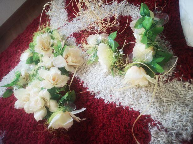 Kule białe kwiaty na auto pudełko serce zimne ognie długie TANIO nowe