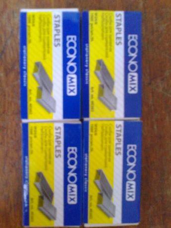 Продам 10 коробочек канцелярских скоб для степлера (сшивания) стандарт