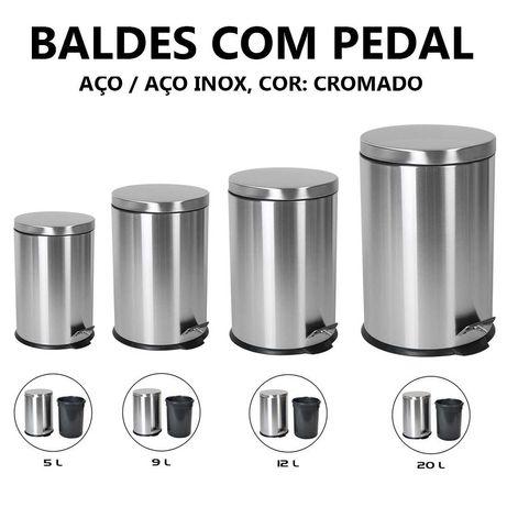 Papeleira / Balde do Lixo com pedal Aço inox - 5L a 20L