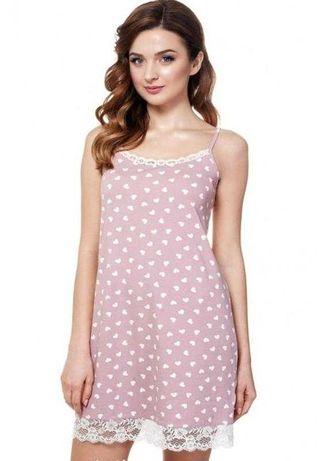 Красивая ночная рубашка с сердечками Ellen нічна сорочка ночнушка
