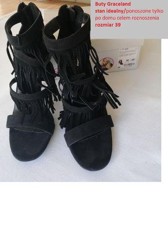 Buty nowe, Graceland, r. 39, czarne szpilki z frędzlami