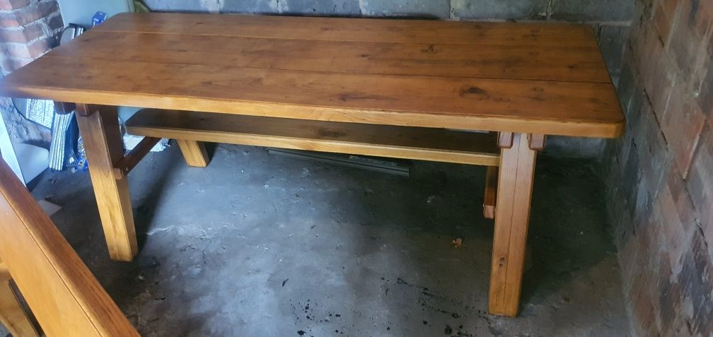 Stół i dwie lawy dębowe ciężkie, grube z polskiego dębu