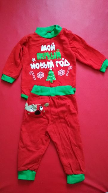 Детский Новогодний костюм Мой первый новый год, боди, штаны