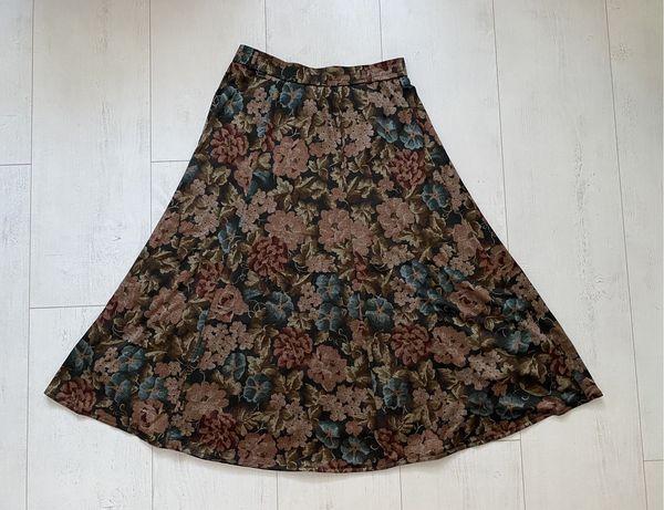 Długa wielokolorowa spódnica maxi midi modna vintage jesienne barwy