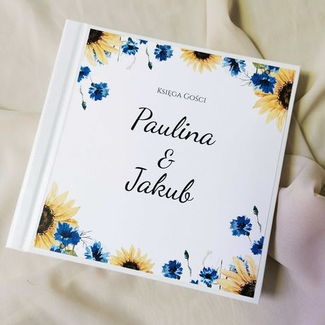 Piękna księga gości na wesele - chabry i słoneczniki