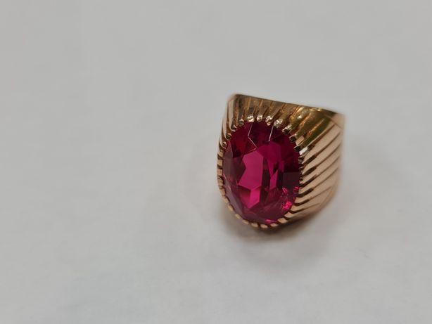 Piękny złoty pierścionek/ Radzieckie 583/ 10.72 gram/ R12/ Czerwony ka