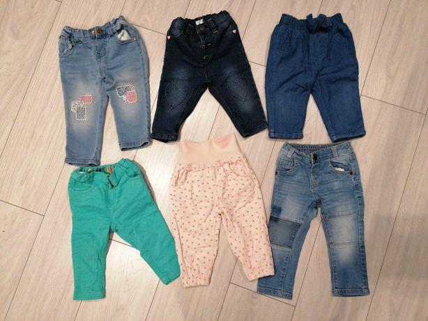 Spodnie dżinsowe, sztruksowe, materiałowe, leginsy, czapki, rozm. 74.
